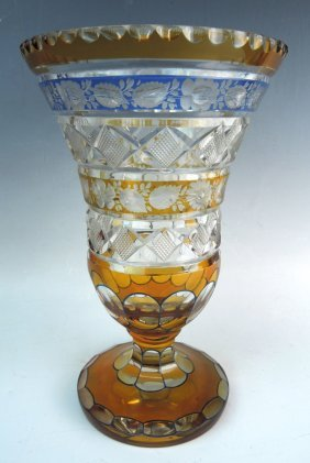 Bohemian Cut Glass Vase In Amber Blue & Clear
