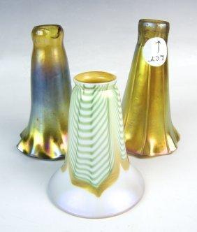 3 Iridescent Art Glass Shades Tiffany & Quezal