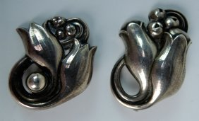 Pair Georg Jensen Sterling Silver Tulip Brooches