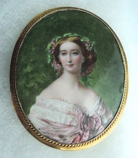 Antique 14k Gold & Enamel Portrait Of A Lady Brooc