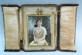 Sgd Hand Painted Portrait Of Pretty Young Woman