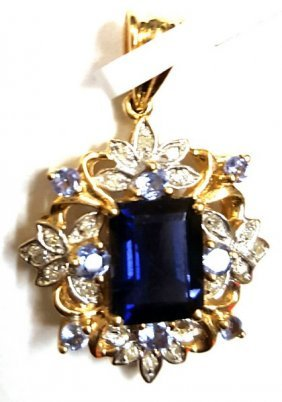 Certified 14k Gold Diamond And Amethyst Pendant 2.60ctw