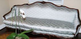 Antique C1880 Handmade Silver Silk English Sofa By
