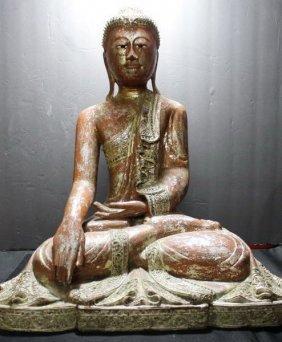Ancient Shakyamuni Chinese Poly-chrome Buddha Scultpure