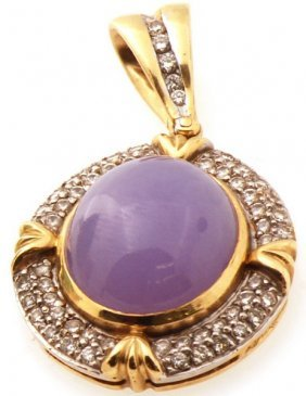 Certified 18k Estate Platinum Pendant Set W. Lavendar