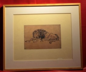 "Framed & Signed Rembrant Etching C1652 ""a Lion Laying"