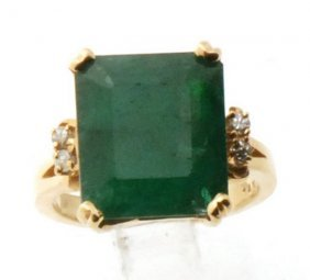 Certified Estate 14k Gold Ring W. Natural Emerald &