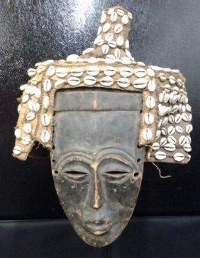 African Kuba Tribe Headdress & Mask Embroidered W.