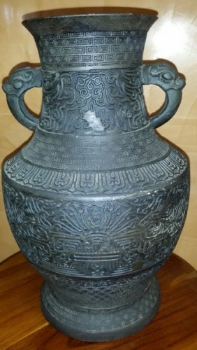 "19th Century Chinese Bronze Vase W. Dragon Handles 12"","