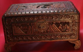 Ancient 19th Century Chinese Yu Ting Carved Burl Wood