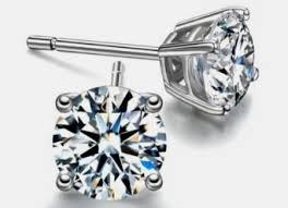 Diamond Solitaire Stud Earrings 14k Gold 1.60 Ctw.