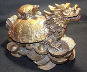 Ancient C1900 China Feng Shui Brass Dragon Turtle