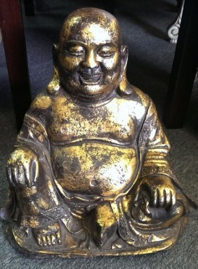 Ancient Chinese Gilt Bronze Maitreya Buddha Sculpture