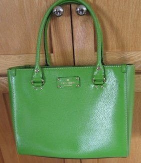 Kate Spade Leather Green Tote Handbag Purse