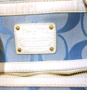Vintage Large Coach Handbag (periwinkle Blue & White