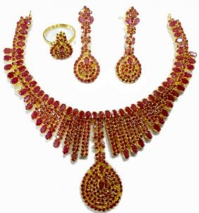 Exotic & Elaborate Ruby Necklace & Earring Set