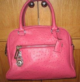 Michael Kors Pink Ostrich Leather Purse Handbag