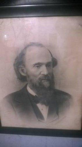 Large Civil War Era Portrait Of A Bearded Man Of