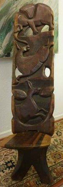 Rare Old Ebony Chief Chair W. Elephant, Donkey, Horse