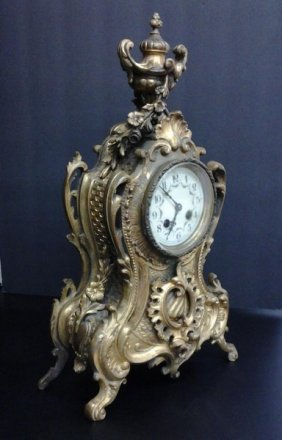 Antique C1880 French Gilt Mantle Clock W. Fire Pendulum