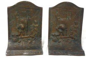 Antique Pair Of Bronze Book Ends The Village Blacksmith