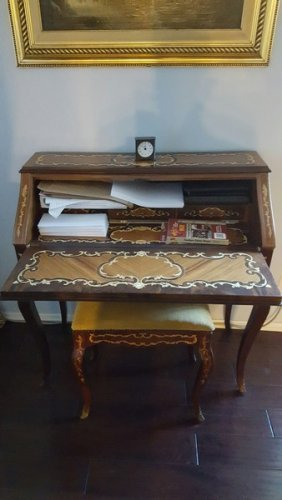 Antique French Mahognay Writing Table & Bench