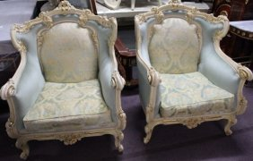 Fine French Lounge Chairs W Table Set (3-pcs)
