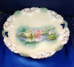 Antique German Water Lilies Cake Plate By R.s Prussia