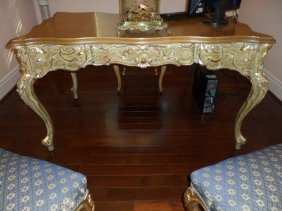 Antique Italian Venetian Burl Walnut Desk With Gold