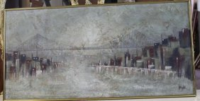 Vintage Signed Oil On Canvas Painting Of City Bridge