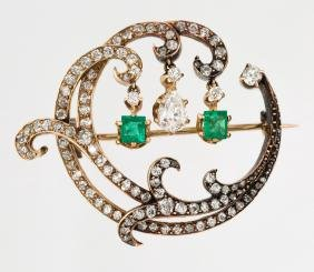 An Antique French Brooch With Diamonds And Gemstones