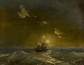 AIVAZOVSKY ANTIQUE RUSSIAN PAINTING SEASCAPE