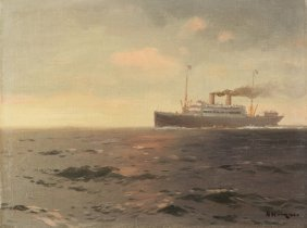 HANZEN ANTIQUE RUSSIAN PAINTING MARINE SEASCAPE