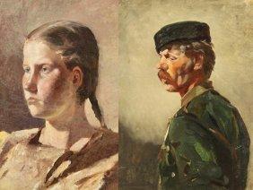2 RUSSIAN PAINTINGS RUDOLF FRENTZ PORTRAITS