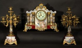 CLOCK + CANDLE HOLDERS ANTIQUE FRENCH PORCELAIN BR