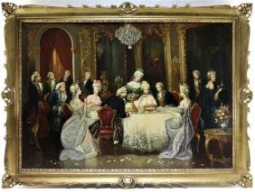 French O/C Interior Genre Painting of Royal Court