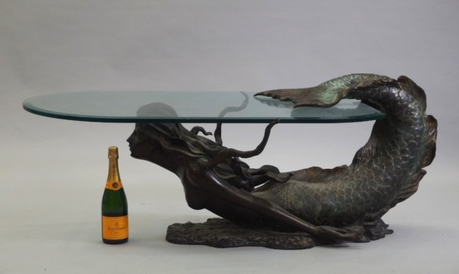 3 4 life size bronze mermaid glass coffee table lot 99 for Mermaid coffee table