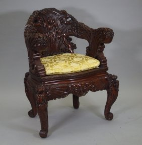 Asian Carved Wood Throne Chair