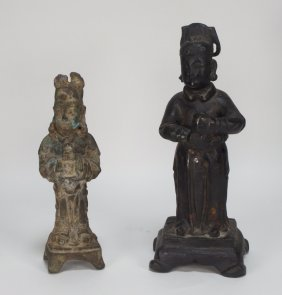 Two Chinese Bronze Standing Deity Figures