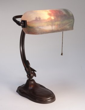 Handel Reverse Painted Autumn Scene Desk Lamp