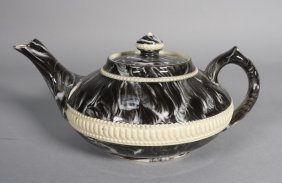 Antique English Macintyre Agate Scroddle Teapot