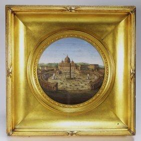 19c. Italian Micro Mosaic Of St Peter's Basilica