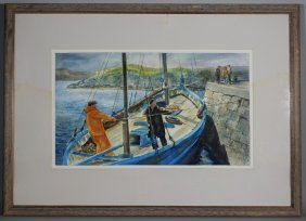 Spencer Crooks Rhode Island Ship At Dock Painting
