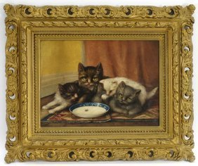 Signed Mj Reynolds Cat & Kitten Painting