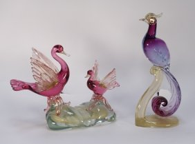 2 Italian Murano Glass Bird Swan Sculptures