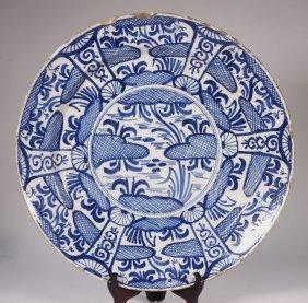 Dutch Delft Faience Blue & White Porcelain Charger