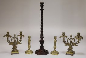 Antique Eagle Candleabra Candlestick Grouping