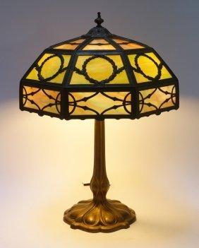 American Slag Glass Three Color Overlay Table Lamp