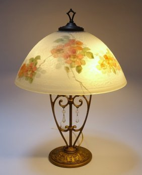 Aladdin Reverse Painted Floral Lamp