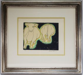 Beniamino Benevenuto Bufano Cow Lithograph